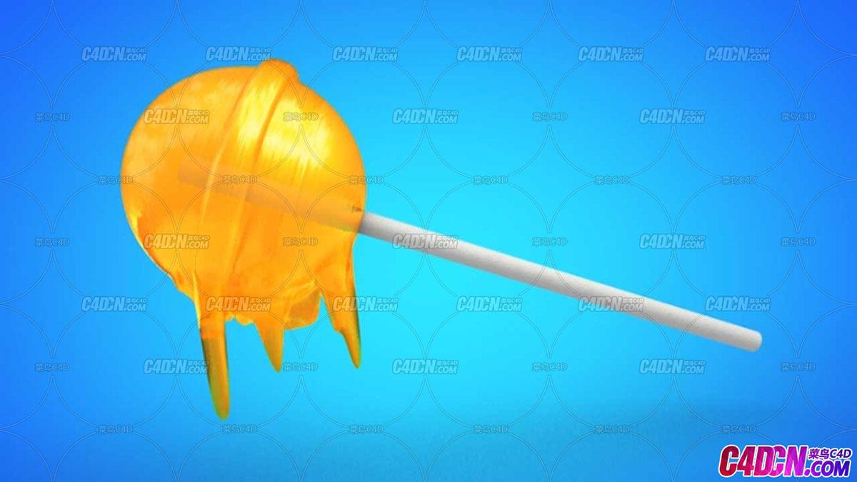 顫動變形器制作棒棒糖融化效果動畫C4D教程