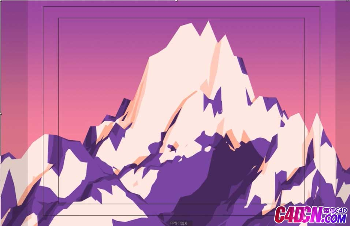 Low Poly风格山脉山峰卡通材质建模渲染C4D教程