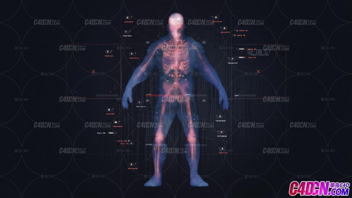 人像掃描動畫元素AE模板