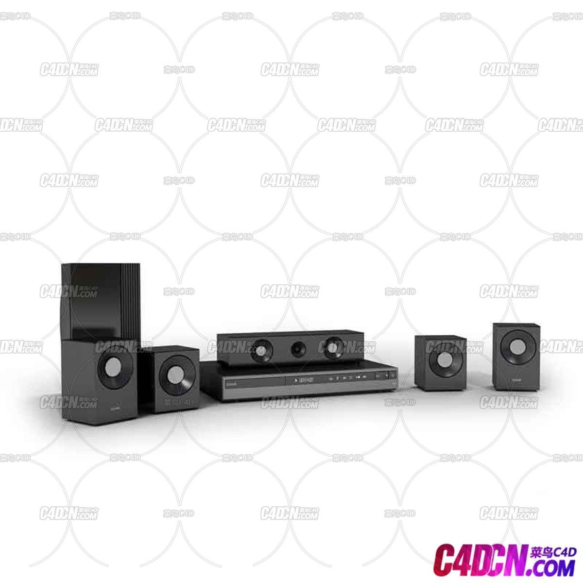 C4D模型 家庭影院播放器音响音箱设备喇叭影碟机DVD模型