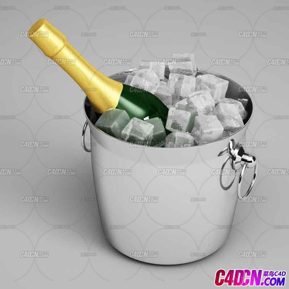 冰块冰镇啤酒童C4D模型