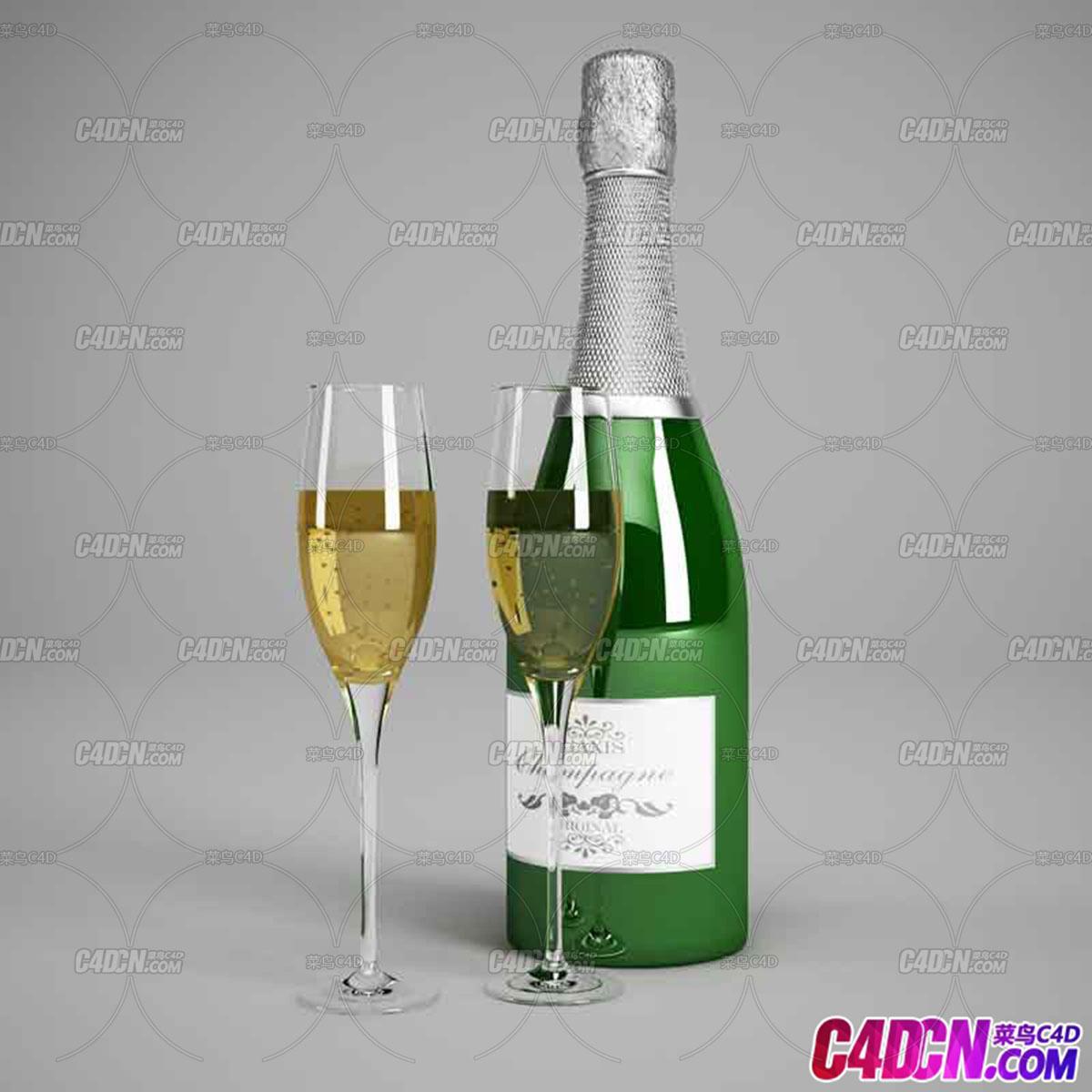 啤酒瓶子高教玻璃杯C4D模型