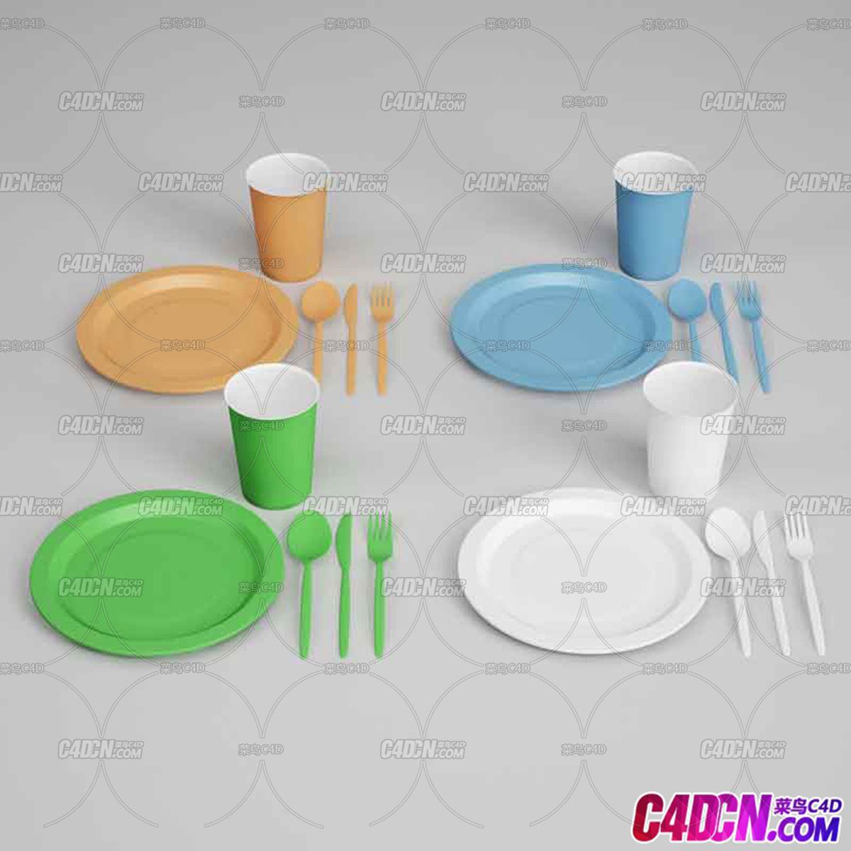 塑料茶杯果盘蛋糕叉子刀子勺子C4D模型