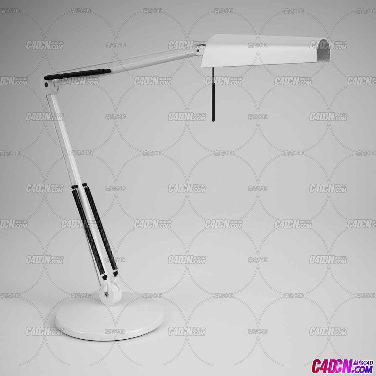 可折叠白色台灯C4D模型