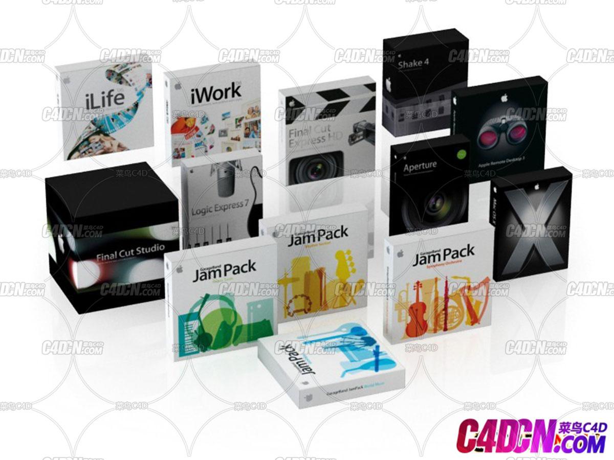 13组产品包装盒软件盒模型合集