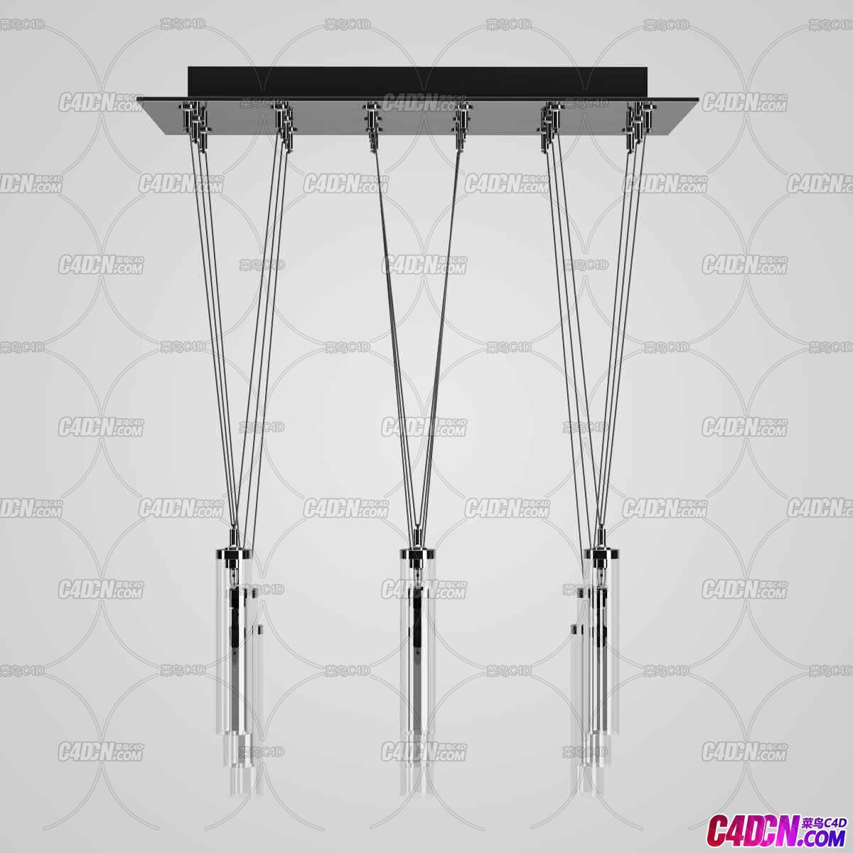 圆柱形造型灯管时尚艺术吊顶灯C4D模型