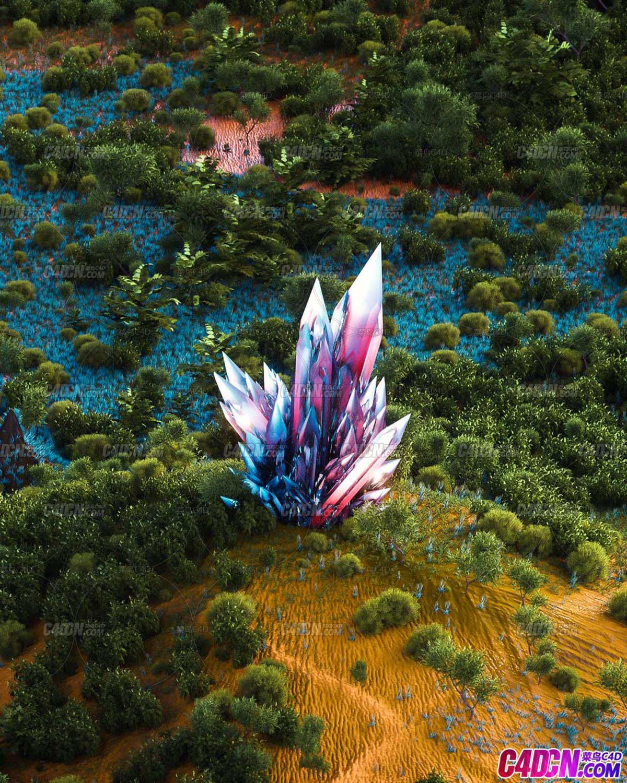 C4D模型 沙漠地植物草丛中绚丽翡翠钻石精品工程
