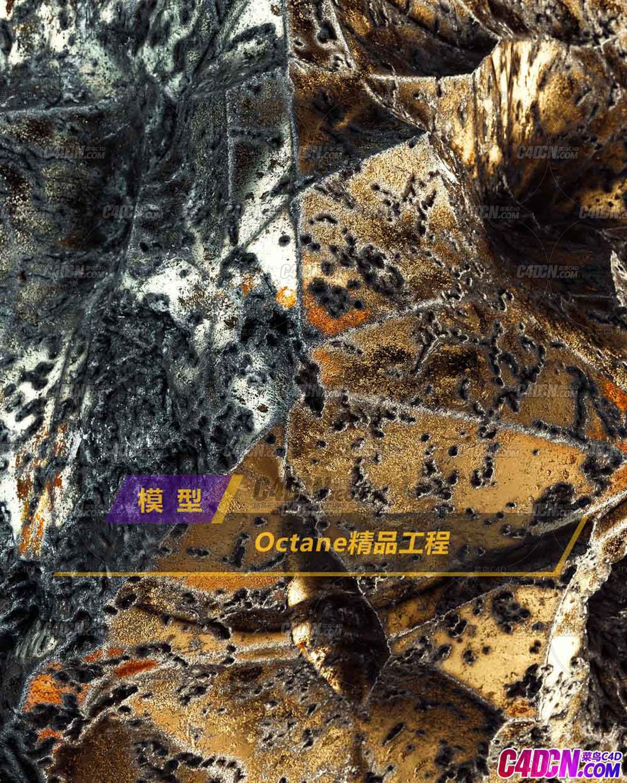 Octane渲染器金属矿石腐蚀质地C4D模型