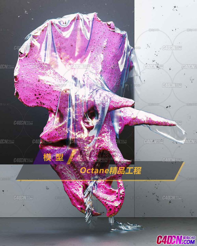 Octane渲染器粉红珊瑚礁雕塑材质C4D模型