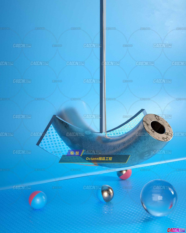 Octane渲染器玻璃材质金属管道C4D模型