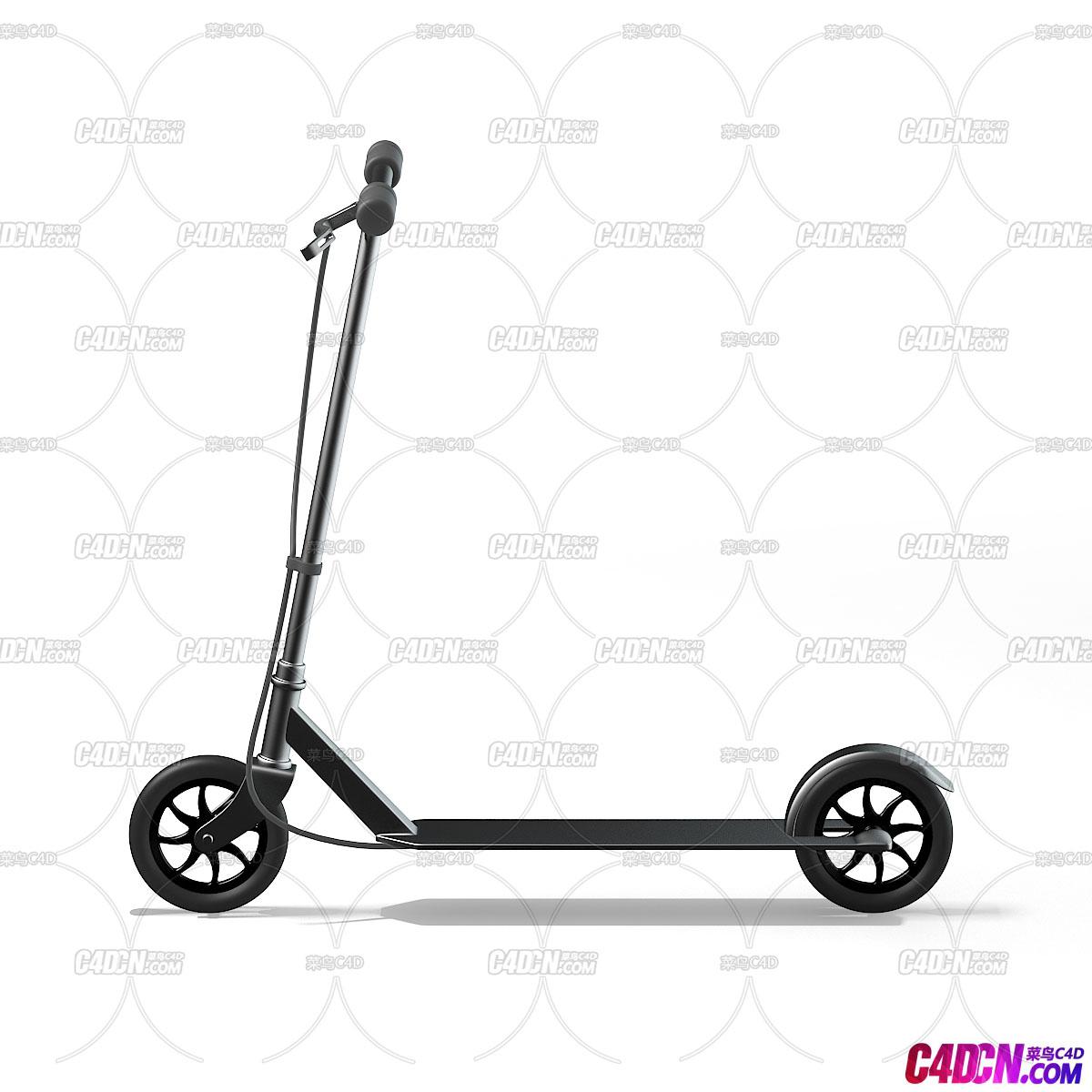 C4D模型 电动单排双轮滑板车代步车