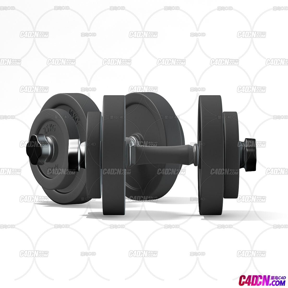 健身模型哑铃C4D模型