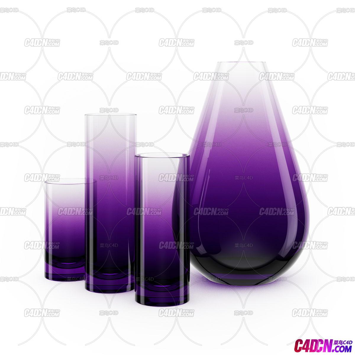 C4D模型 渐变色玻璃杯酒壶水瓶