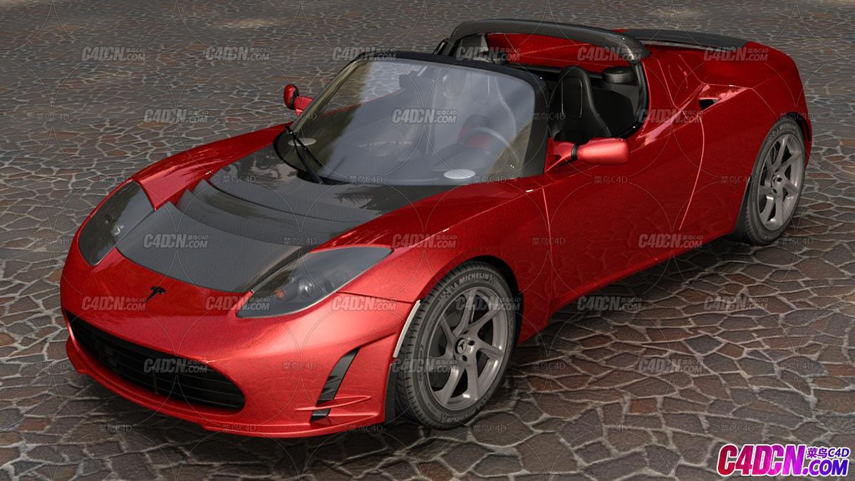 特斯拉电动汽车跑车C4D模型 Tesla Roadster