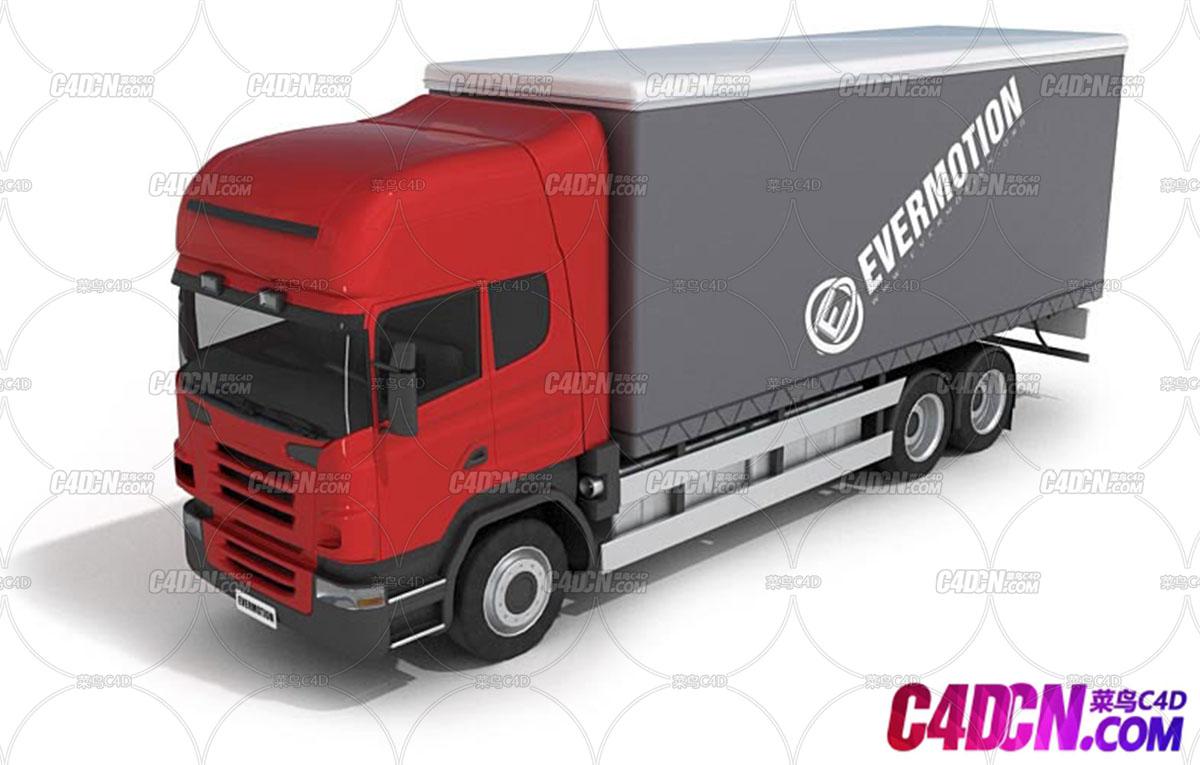 C4D模型 厢式货车汽车运输车模型