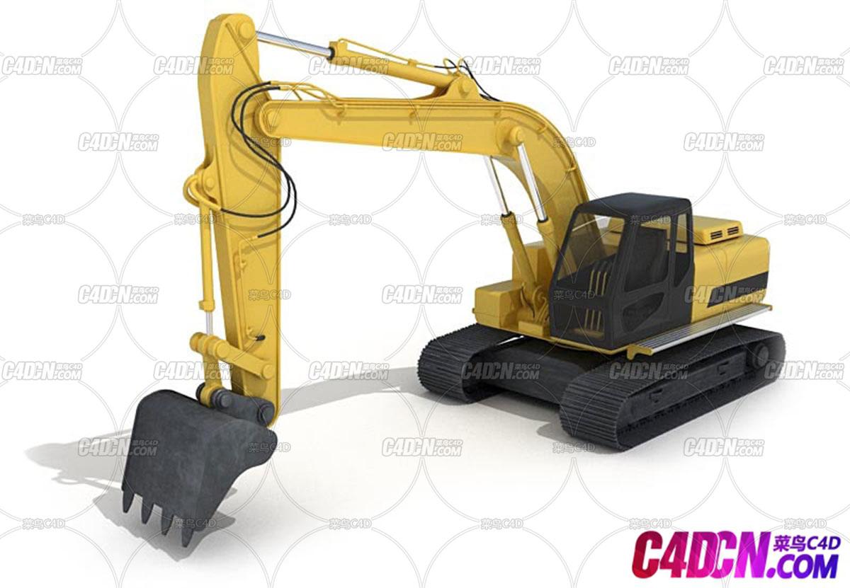 C4D模型 挖掘机工程车模型