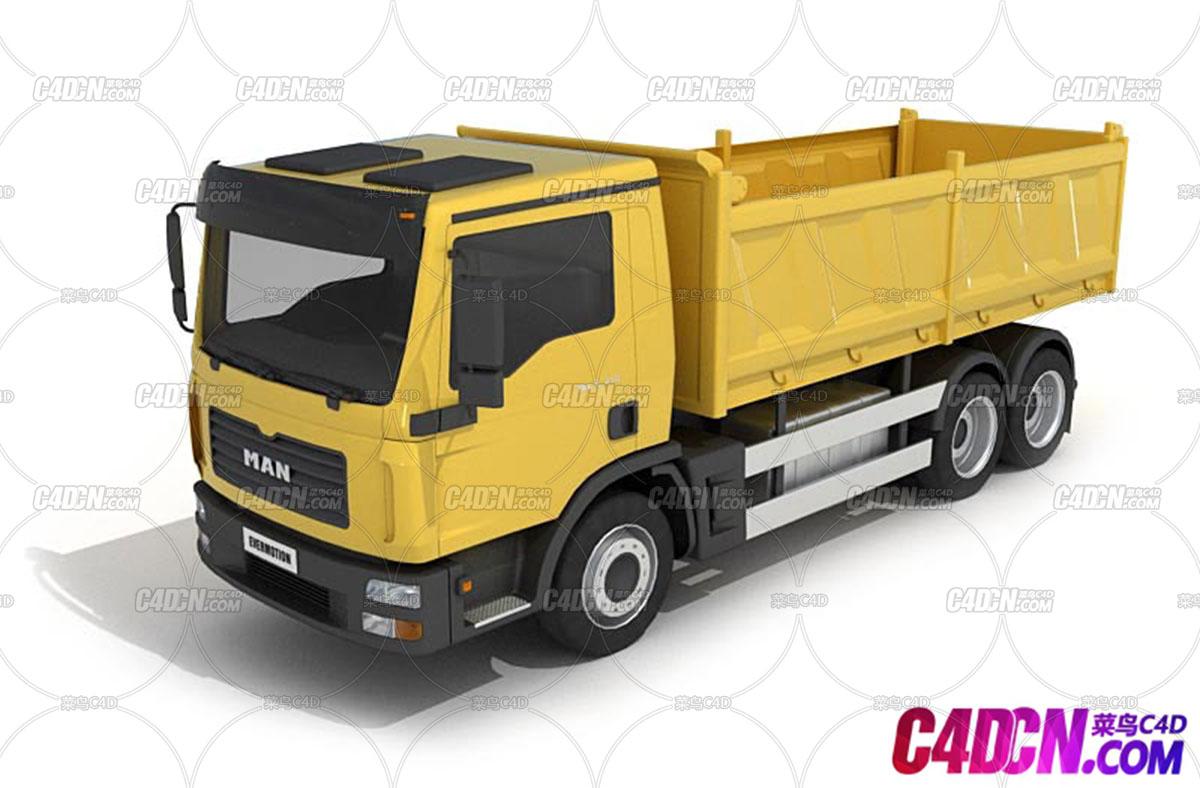C4D模型 工程车渣土车运输车货车模型