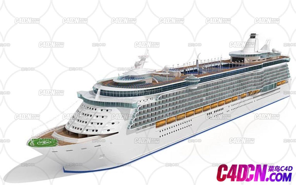C4D模型 豪华旅游船只邮轮客轮游轮模型