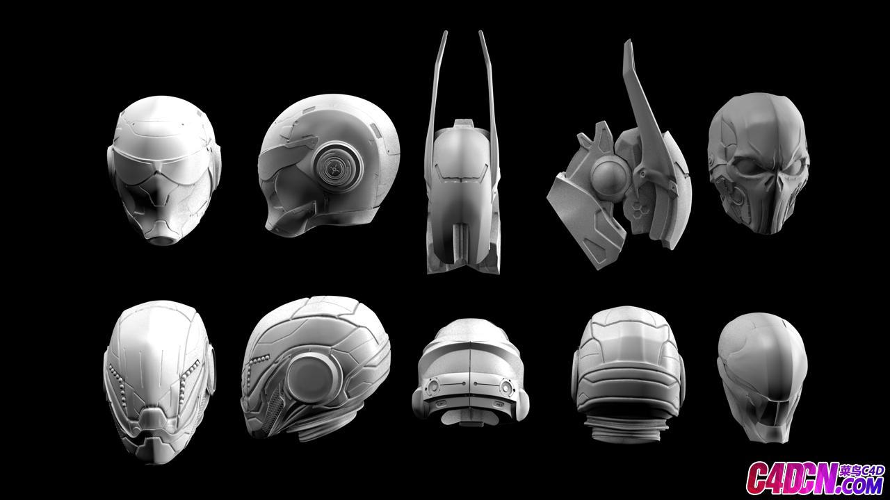 科幻未来战士头盔战甲C4D模型