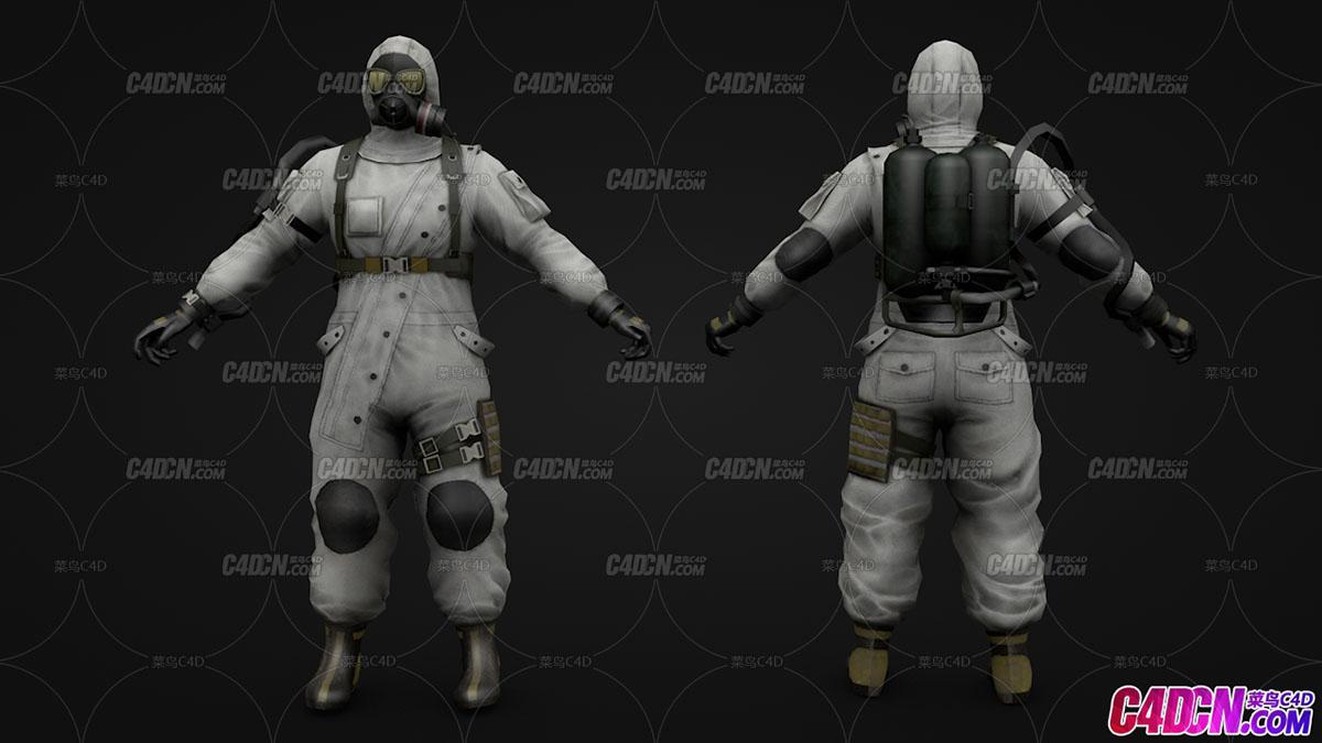 带防毒面具隔离服防化服的工作人员C4D模型(含绑定)