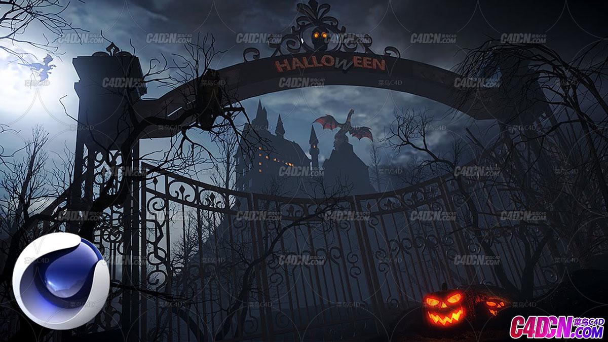 C4D+AE教程 傍晚的神秘城堡巫师魔法场景搭建渲染教程