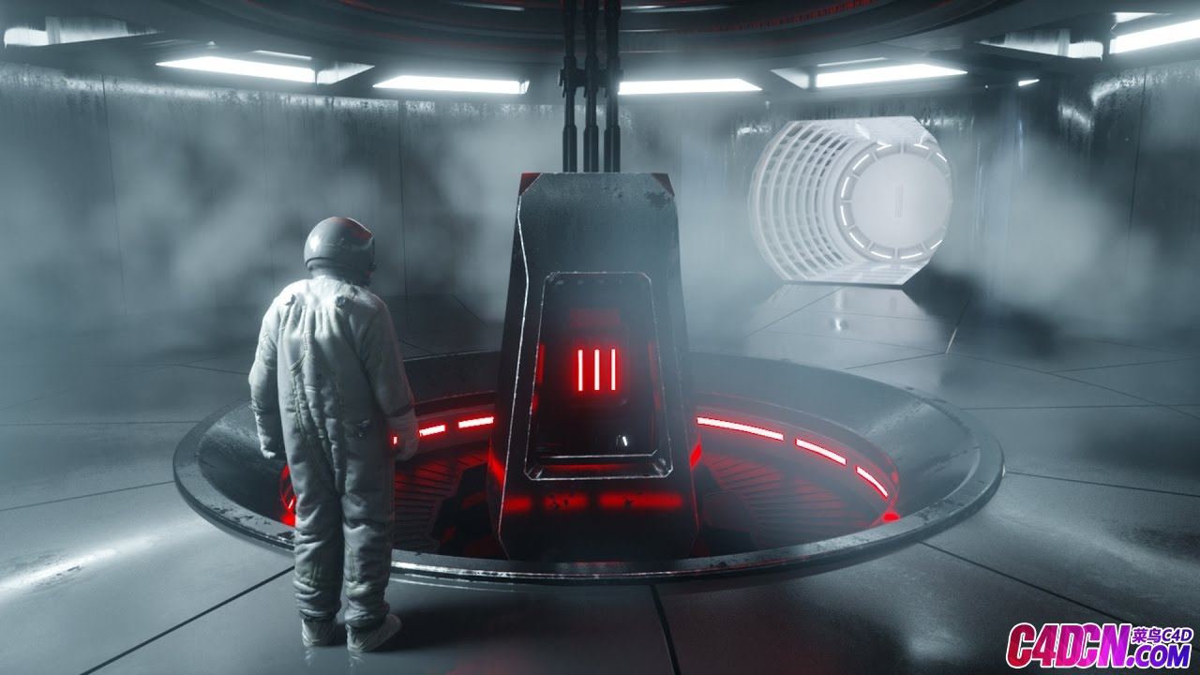 Octane渲染器宇航员飞船空间仓室内环境灯光环境解析C4D教程 Octane Ren