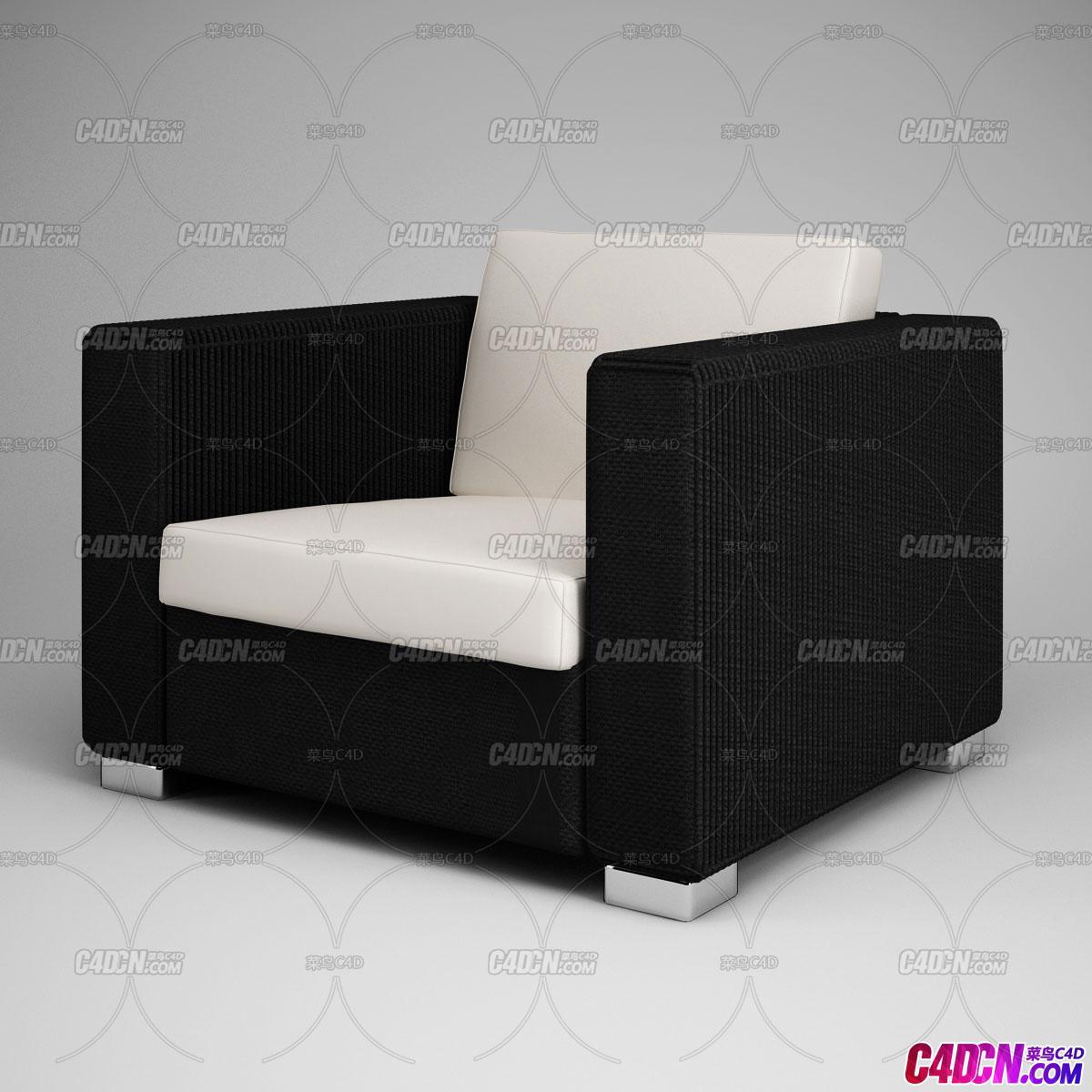 C4D室内设计黑色布艺白色真皮简约单人沙发家具C4D模型