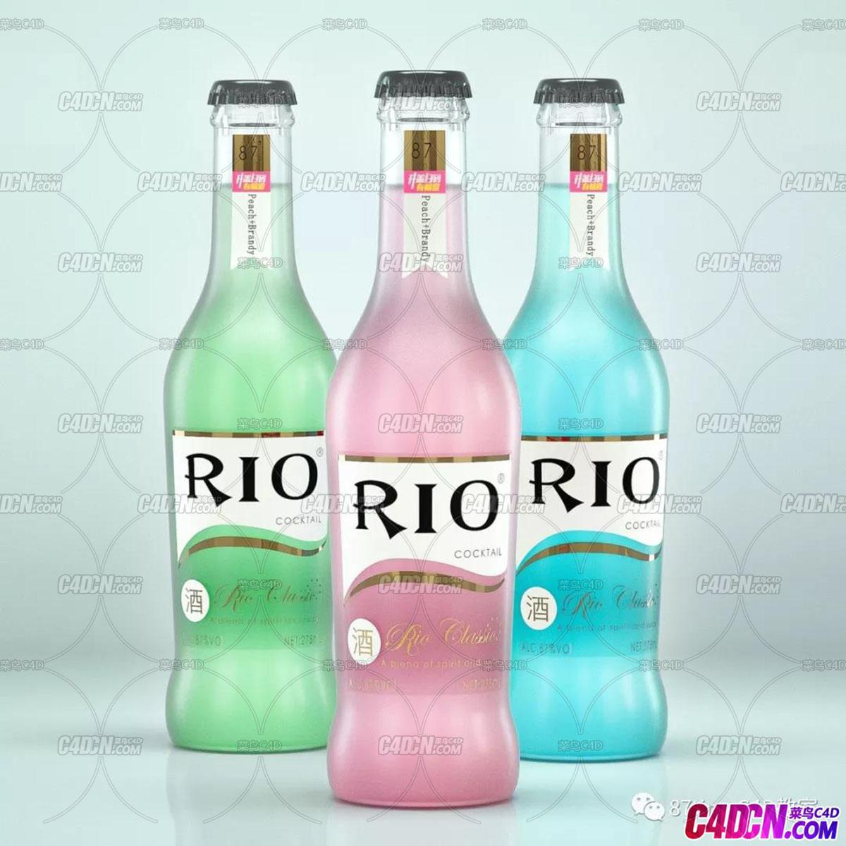 C4D OC 产品渲染Rio鸡尾酒