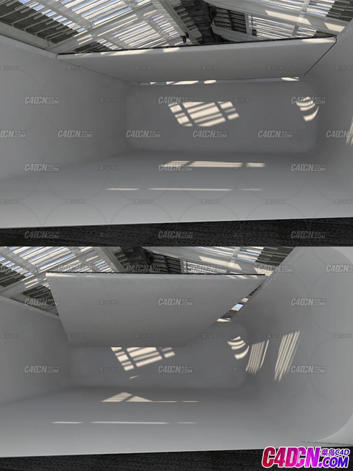 C4D模型 工厂厂房仓库房屋建筑工程模型
