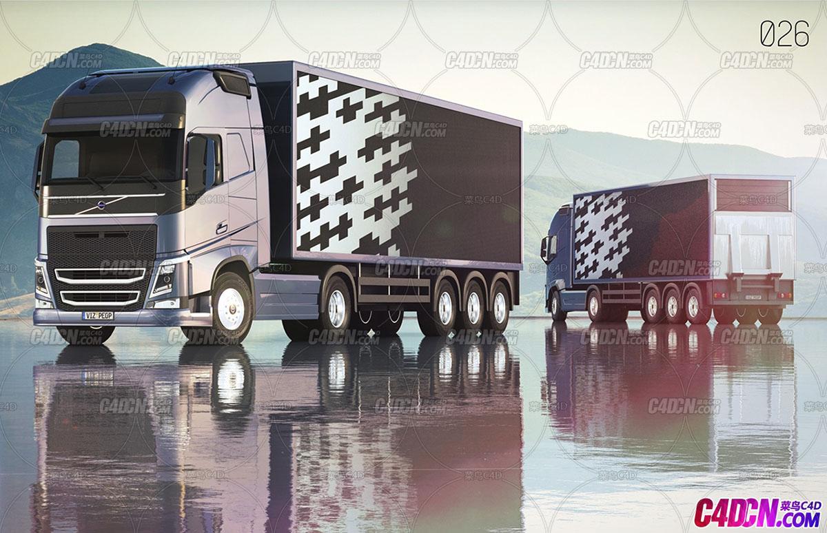 C4D模型 沃尔沃卡车货车汽车模型
