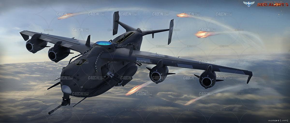 新手的C4D和OC的练习作。红警3的先锋飞机