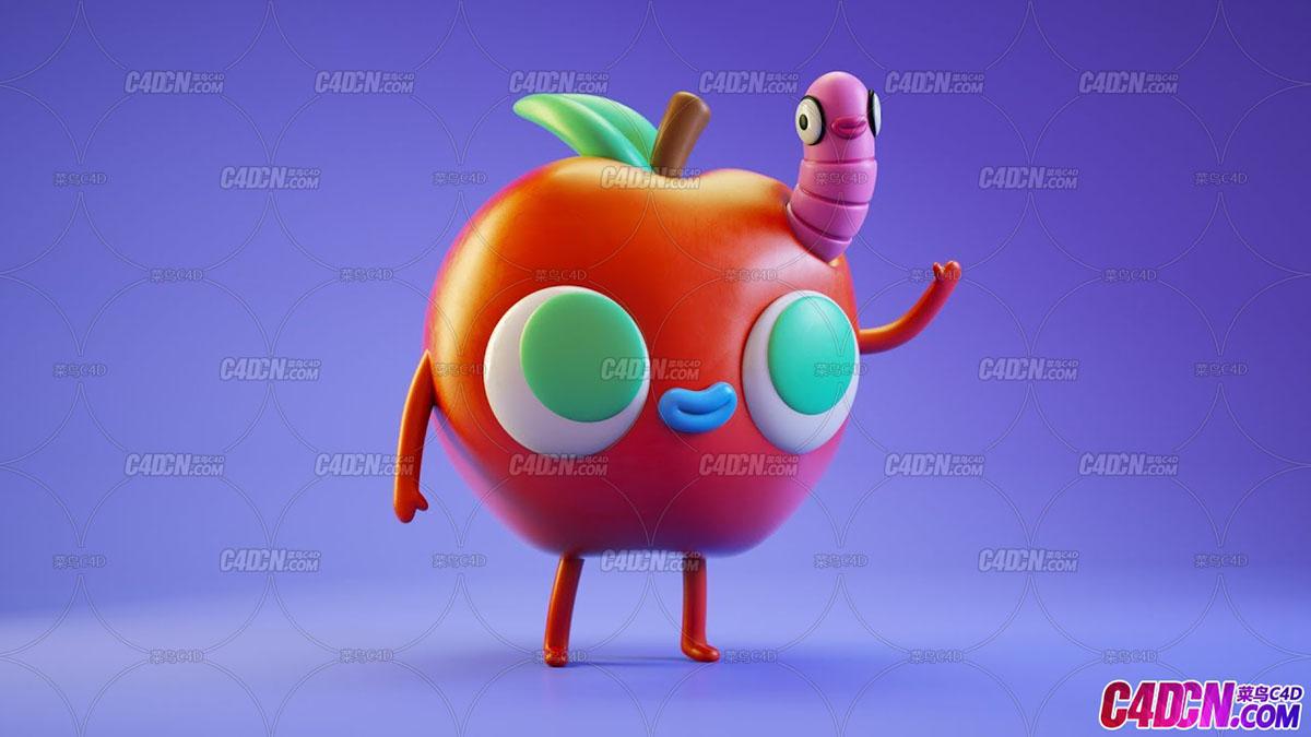 C4D卡通风格苹果和虫子塑料材质Octane渲染器材质渲染C4D教程