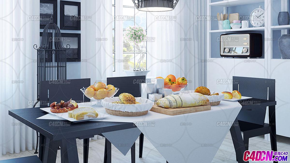 10组精品室内厨房食物超市健身房室内设计效果图C4D模型