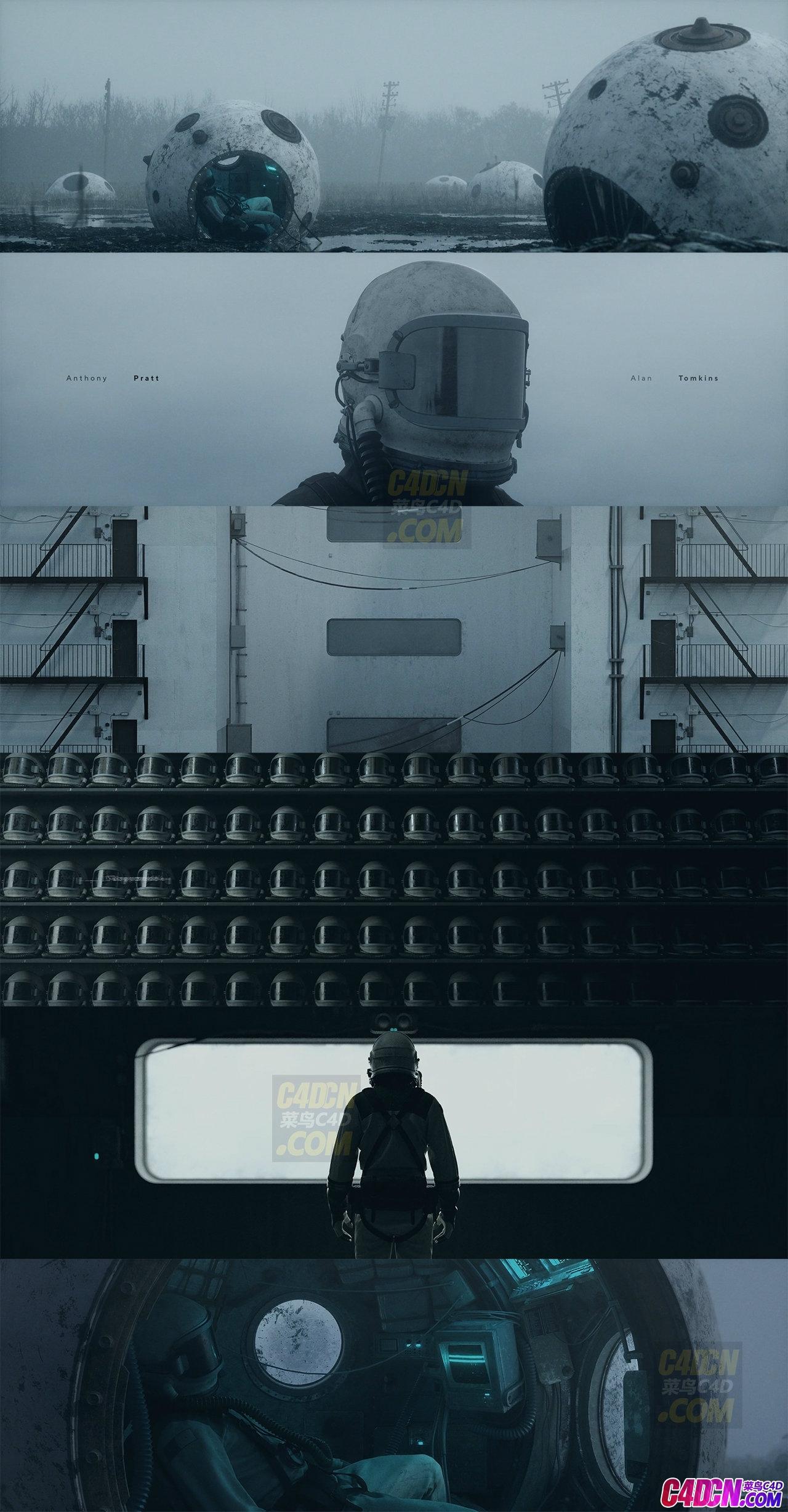 C4D工程 科幻短片宇航员宇宙太空飞船坠落荒野星球视频动画源文件 No Signal