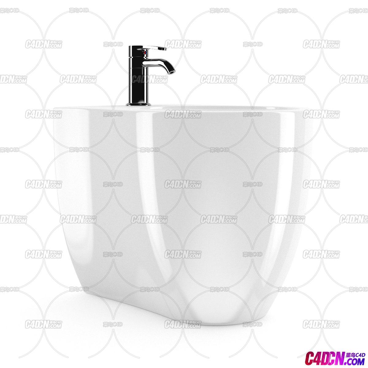 C4D模型 陶瓷材质洗手池蓄水池模型