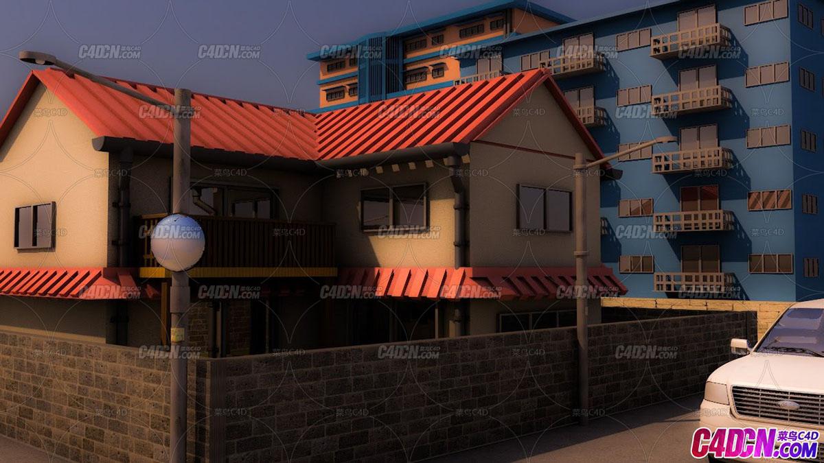 C4D教程 庭院别墅房子建模渲染教程 Model a realistic town House Hous