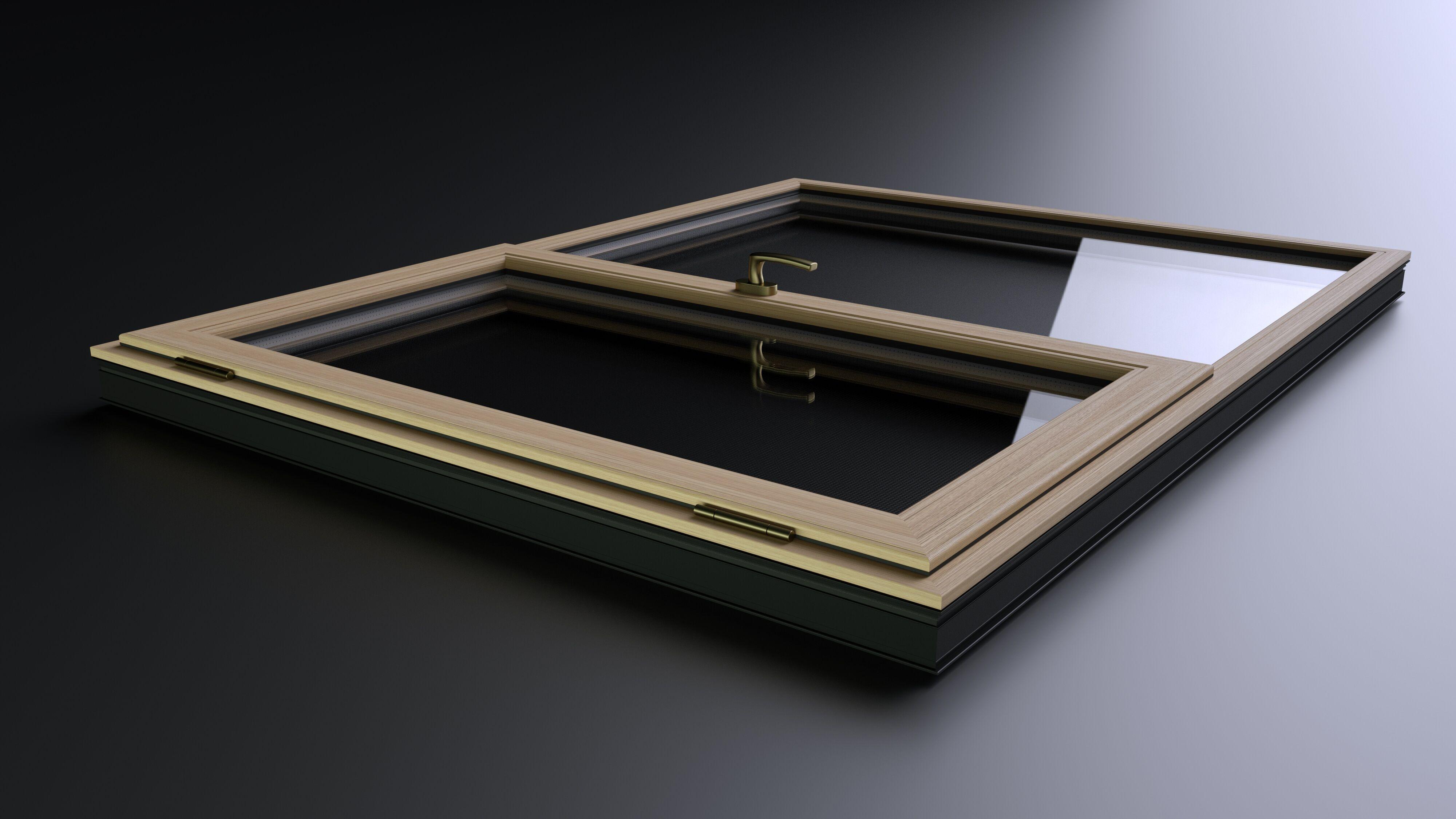 产品渲染-木铝门窗
