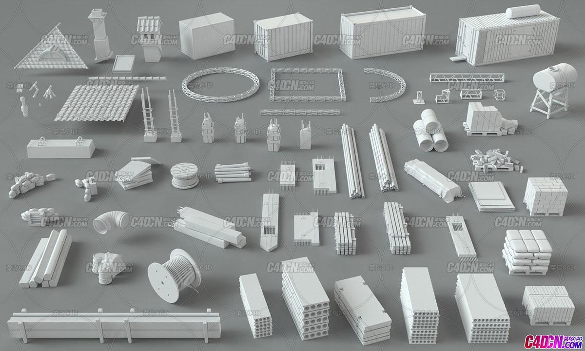 C4D模型 66组建筑工地厂房屋子模型合集