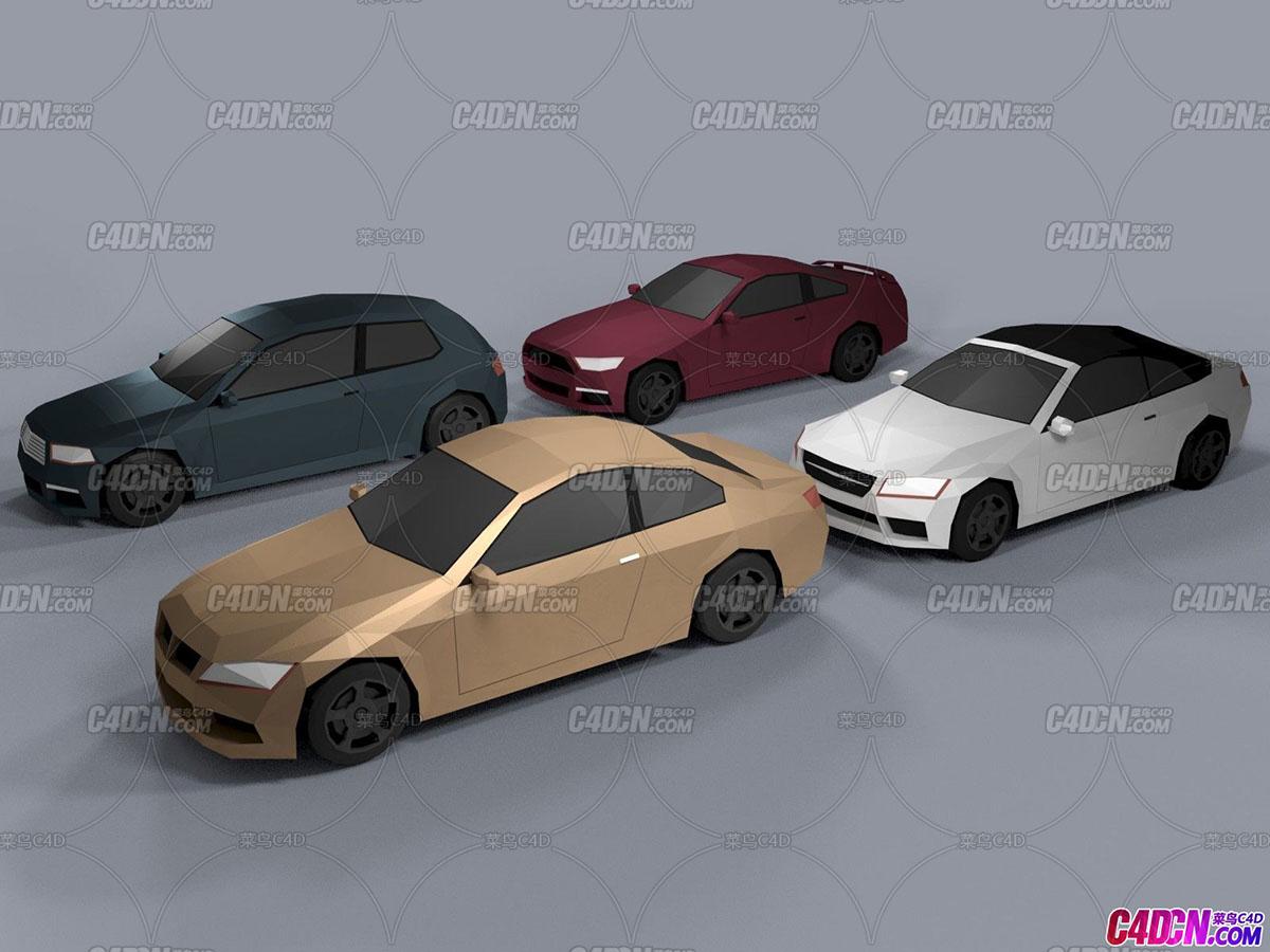 C4D模型 4个低多边形低面模lowpoly风格小汽车交通模型