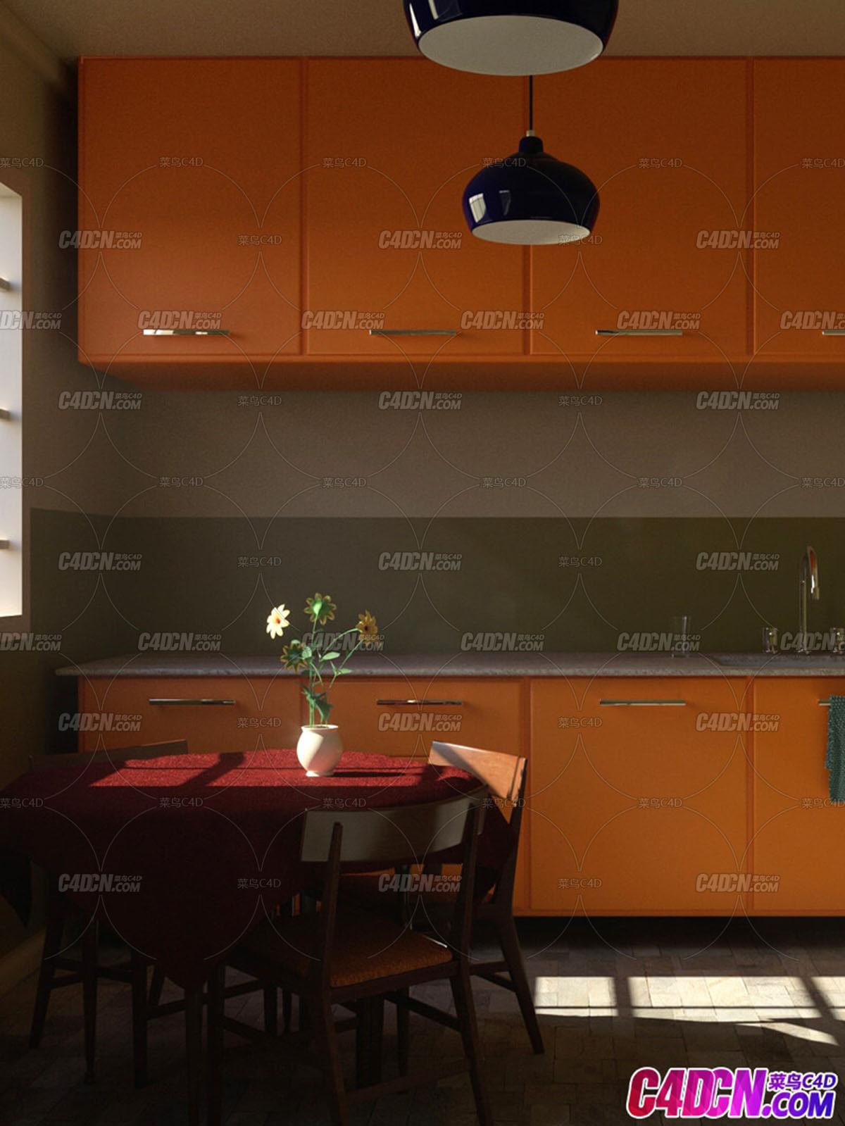 C4D模型 Octane渲染器厨房餐桌花瓶橱柜整体室内工程材质渲染模型