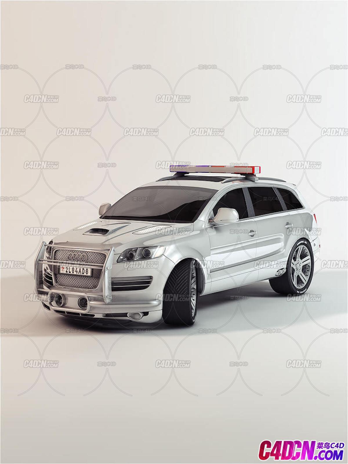 C4D模型 Octane渲染器奥迪SUV汽车模型改装交通模型