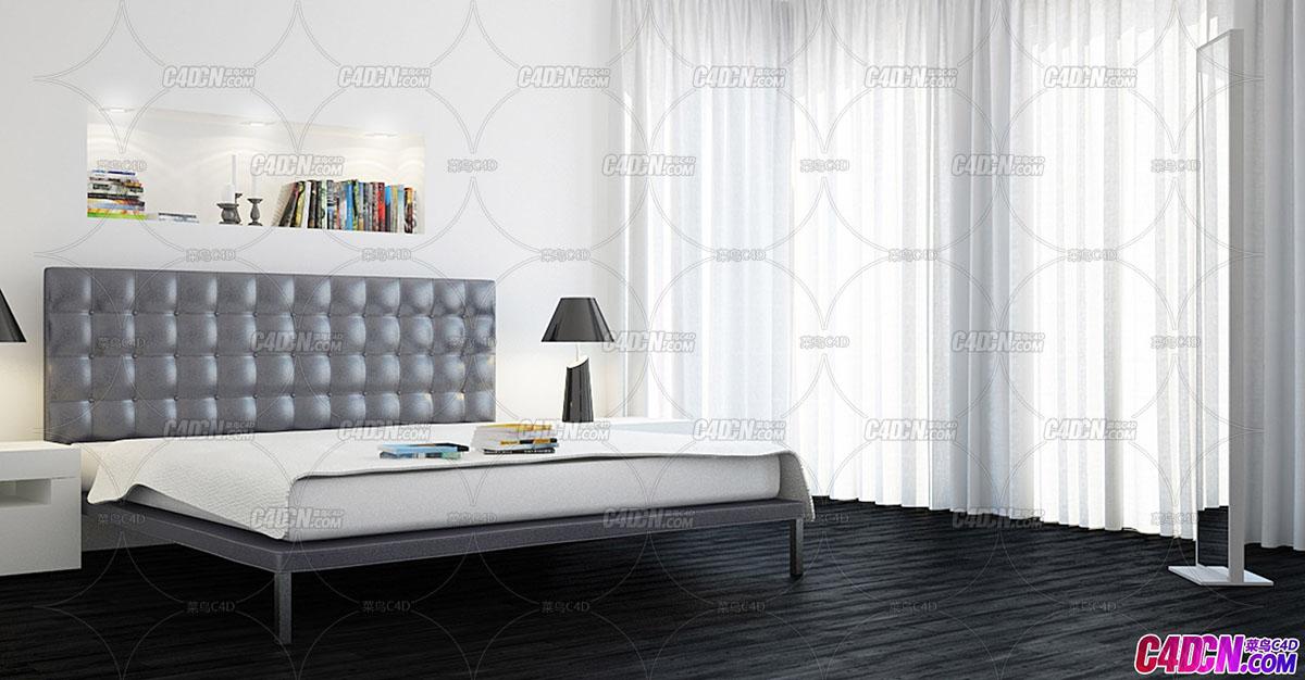 C4D模型 30组卧室衣柜壁橱卧室床木床沙发床躺椅家具模型合集