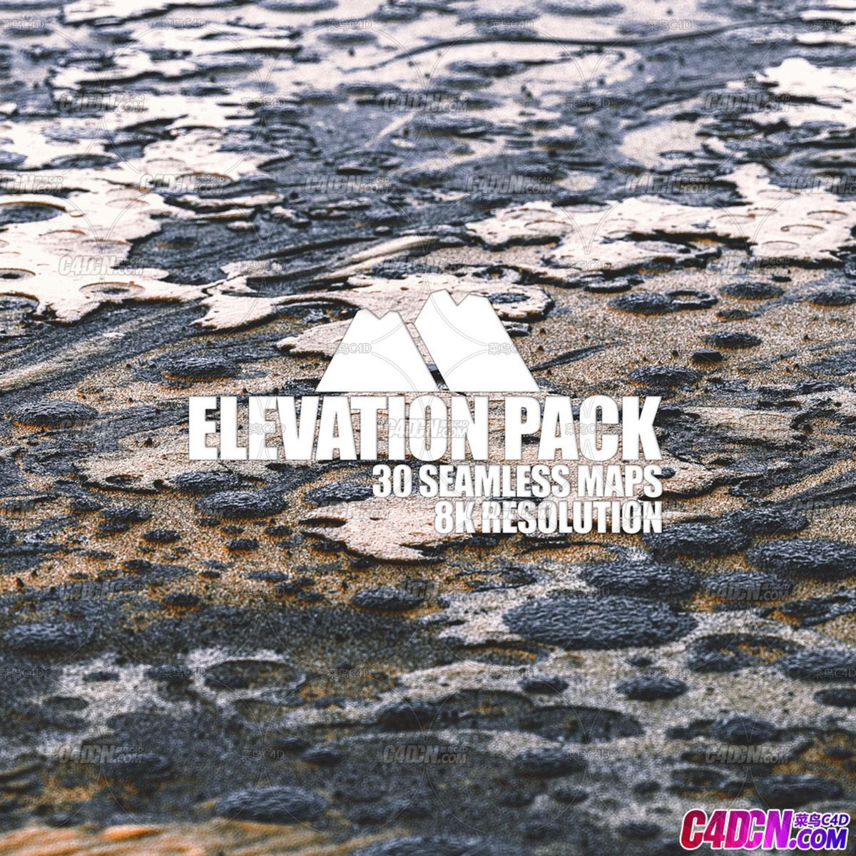 8K分辨率C4D地形置换材质贴图素材合集 Elevation Pack - Highmaps library