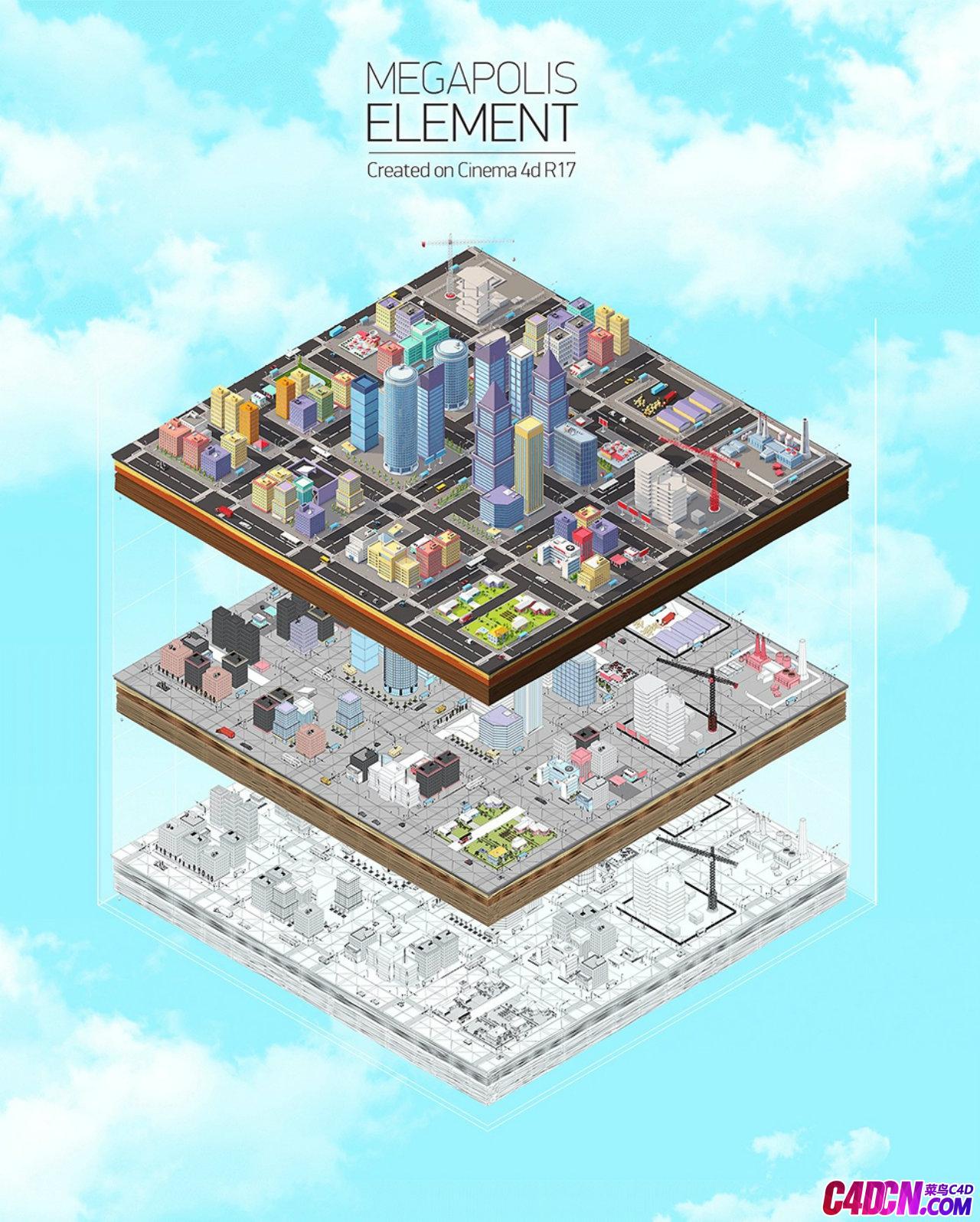 C4D模型 Low Poly风格卡通城市建筑群工程文件
