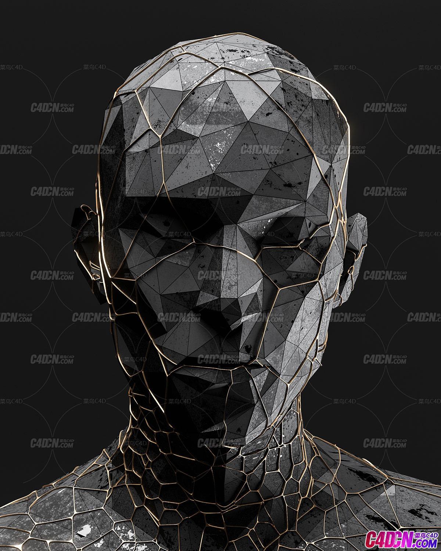 C4D模型 Redshift渲染器lowpoly低面模風格人物頭像雕塑模型