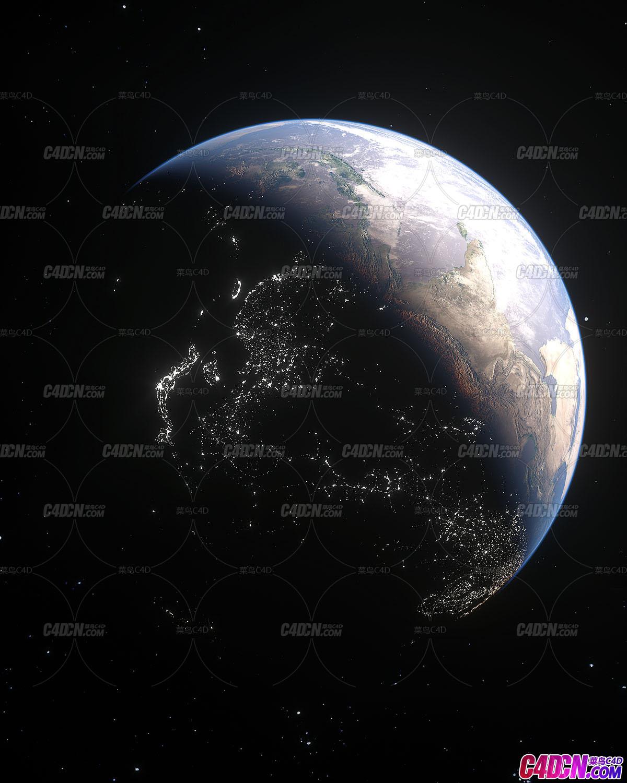 Octane渲染器写实逼真太空俯瞰地球夜景工程文件