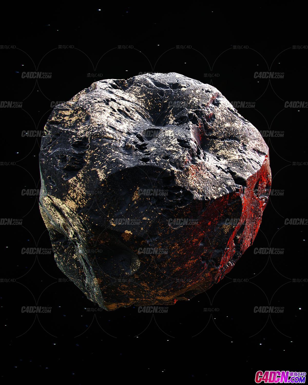 Octane渲染器写实逼真石头陨石小行星天体模型