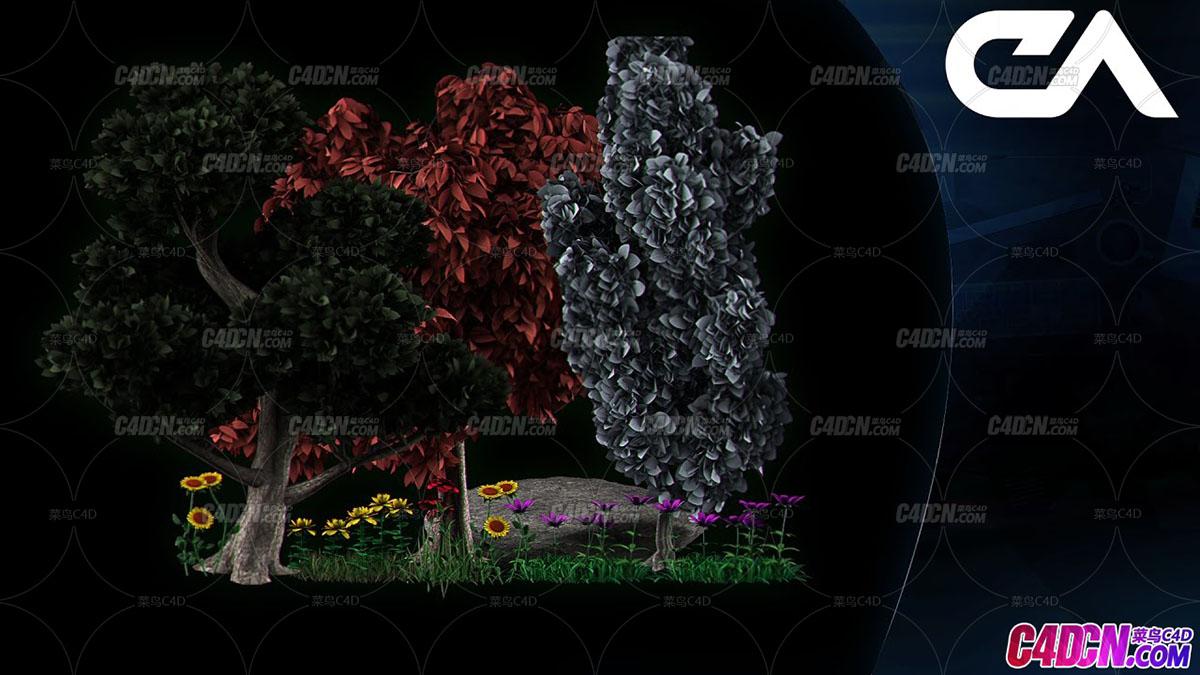 Forests插件制作植物树木植被C4D教程