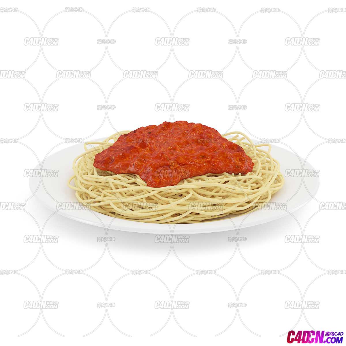 C4D模型 意大利面条食物模型
