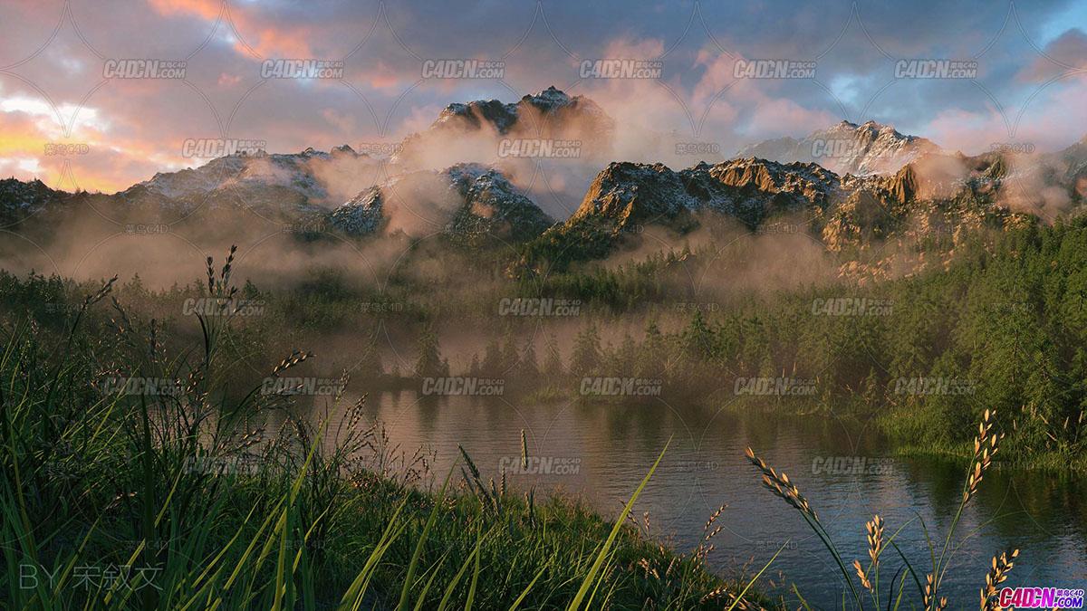 原创 worldmachine+C4D+AE制作大型自然场景高级案例《雪山松林》